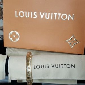 Louis Vuitton clear lucite resin bangle gold